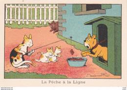 IMAGES ILLUSTREES.  La Pêche à La Ligne.chat Chaton Chien  Illustrateur Benjamin RABIER. ..C342 - Unclassified