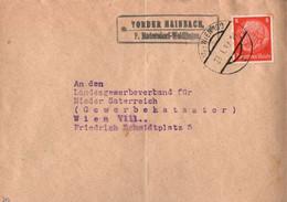 ! 1939 Brief Mit Landpoststempel Vorder Hainbach P. Hadersdorf Weidlingen, Österreich Nach Wien - Covers & Documents