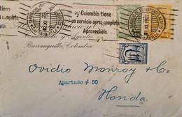 L) 1927 COLOMBIA, SANTANDER, 4C, BLUE, SCADTA, RIVER, NATURE, 10C, GREEN, 5C, ORANGE, HONDA, XF - Colombia
