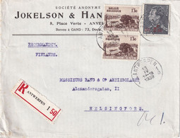 BELGIQUE 1939 LETTRE RECOMMANDEE DE ANTWERPEN AVEC CACHET ARRIVEE HELINGFORS - Cartas