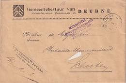 BELGIQUE  1916 LETTRE EN FRANCHISE CENSUREE DE DEURNE - Autres