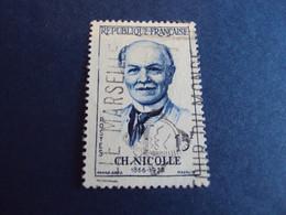 """1950-59  - Oblitéré N°  1144   """"   Charles Nicolle  """"   """"   Publicité    """"   Net   0.40 - Usados"""