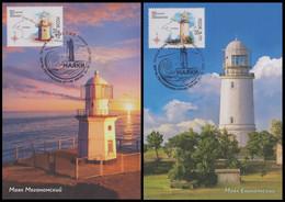RUSSIA 2020 POSTCARD Used MAXIMUM Maxi Card Mi 2923-24 LIGHTHOUSE KRYM Crimea Crimee BEACON PHARE FAROS 2701-02 - Leuchttürme