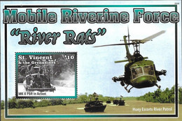 ST. VINCENT AND THE GRENADINES, 2020, MNH, VIETNAM WAR,MOBILE RIVERINE FORCE, BOATS, HELICOPTERS, S/SHEET - Autres