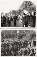 2 Photos - Passage En Revue De Troupes ...scouts - Porte-drapeaux - Guerra, Militares