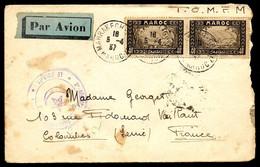 1937 Lettre Par Avion Maroc FM Cachet Militaire 2e Régiment De Tirailleurs Marocains Le Colonel Marcophilie - Poste Aérienne