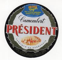 Mar21  530114   étiquette  Camembert Président     Décodez   Gagnez L'an 2000 - Formaggio