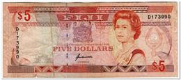 FIJI,5 DOLLARS,1991,P.91,2 SMALL TEARS,CIRCULATED - Figi