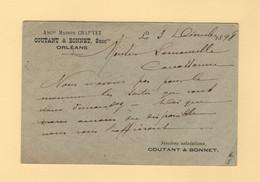 Type Sage - Entier Repiquage Coutant Bonnet - Orleans - Loiret - 1898 - AK Mit Aufdruck (vor 1995)