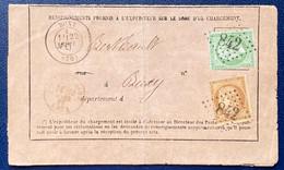 Affranchissement Mixte NAP III N°20 & Céres N°59a Sur ✉️ Avis De Chargement De BUXY, GC 842 Frais, Belle Association TTB - 1871-1875 Cérès