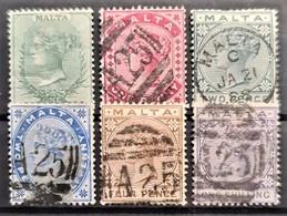 MALTA 1885 - MLH/canceled - Sc# 8-13 - Malta (...-1964)