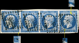 FRANCE - Yv.14 20c Bleu Type I Bande De 4 Positions 11G3, 12G3, 13G3, 14G3 -TB Sur Fragment - 1853-1860 Napoleon III
