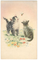 Two Cats And A Bee. Serie 446 5. Cromocart. Llustration, Ilustração, Cats, Insect, Flowers, Romantic - Gatti