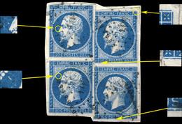 FRANCE - Yv.14 20c Bleu T.I 2 Paires Positions 102D1-112D1 & 103D1-113D1 - Sur Fragment - 1853-1860 Napoleon III