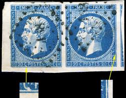 FRANCE - Yv.14 20c Bleu T.I Paire Positions 41G1/42G1 Avec Petit Bord De Feuille - TBsur Fragment - 1853-1860 Napoleon III