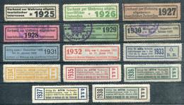 Austria 1925-1938 ÖBB Railway Revenue Österreichische Bundesbahnen Tourist Permit Discount Stamps Eisenbahn Österreich - Trains
