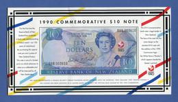 New Zealand 10 $ Dollars 1990 Treaty Of Waitangi 150 Years Commemorative Issue With Folder - Pick # 176 Unc - New Zealand