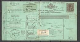 ITALY Italia 1888 Packet Card Bulletin D'Exedition Pacci Postali O Milano - Poststempel