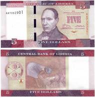 Liberia 5 Dollars 2016 UNC - Liberia