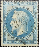 N°29B. Napoléon 20c Bleu. Oblitéré Losange P.C. N°345 Bélesta - 1863-1870 Napoléon III. Laure