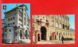 """MONACO . """" LE PALAIS PRINCIER """" & """" LA CATHÉDRALE, INAUGURÉE EN 1875 """" . 2 CPM - Réf. N°28938 - - Collections & Lots"""