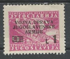 Yougoslavie - Jugoslawien - Yugoslavia Administration Militaire 1947 Y&T N°AM1 - Michel N°55 Nsg - 1ls9d Partisane - Ungebraucht