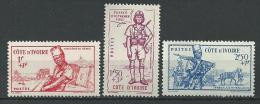 """Cote Ivoire YT 162 à 164 """" Defense De L'Empire """" 1941 Neuf** - Neufs"""