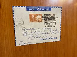 Lettre De 1948 - 1 ère Liaison Aérienne Direct Martinique / Porto Rico - Poste Aérienne