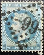 N°29B. Napoléon 20c Bleu. Oblitéré Losange G.C. N°-66- Allonnes - 1863-1870 Napoléon III Lauré