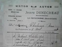 G 4 19.. Facture Garage à La Poitevinière Maine Et Loire - 1921-1960: Periodo Moderno