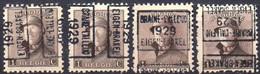 N° 4479A/B/C/D BRAINE-L'ALLEUD 1929 EIGEN-BRAKEL - Roller Precancels 1920-29