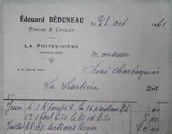 G 4 19.. Facture Garage Forge Et Cycles à La Poitevinière Maine Et Loire Facture Entiere - 1921-1960: Periodo Moderno