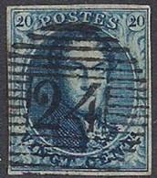 Belgium - Médaillon 20c Bleu Filigrane Encadré  N°4 Ob./used - 1849-1850 Medallions (3/5)