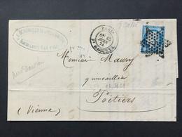 FRANCE 1874 Entire Receipt Paris 5 Star Cancel To Poitiers Tied With Ceres 25 Centimes - 1871-1875 Cérès