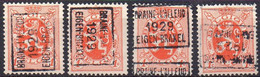 N° 4935A/B/C/D BRAINE-L'ALLEUD 1929 EIGEN-BRAKEL - Roller Precancels 1920-29