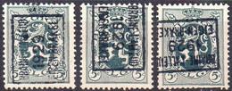 N° 5062A/B/D BRAINE-L'ALLEUD 1929 EIGEN-BRAKEL - Roller Precancels 1920-29