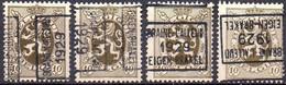 N° 5125A/B/C/D BRAINE-L'ALLEUD 1929 EIGEN-BRAKEL - Roller Precancels 1920-29