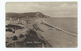 Devon Seaton   Postcard Rp The Beach  Posted 1912 Downey Head And Seaton Single Circle Cancel - Sonstige