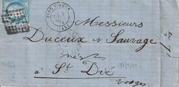 Gare D'agent Septembre 1874 Au Dos Périgueux   Paris A Vricourt - 1871-1875 Cérès