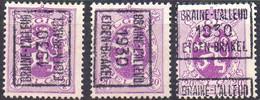 N° 5871A/B/C BRAINE-L'ALLEUD 1930 EIGEN-BRAKEL - Roller Precancels 1930-..