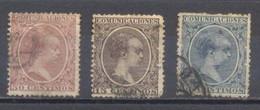 España, 1889/99, Usado Edifil 215,219 Y224, - Oblitérés