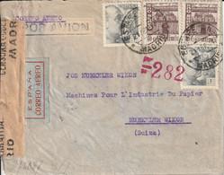 Espagne Lettre Par Avion Censurée Madrid Pour La Suisse 1944 - 1931-50 Briefe U. Dokumente