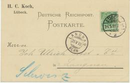 """DEUTSCHES REICH """"LÜBECK / 2"""" K2 5Pf Postkarte N """"LANGNAU / BERN"""" SCHWEIZ UNTERFRANKIERT - Cartas"""