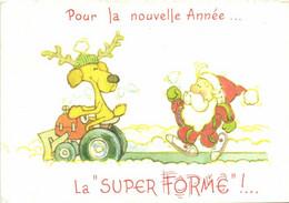Illustrateur Pour La Nouvelle Année Cerf Sur Un Chasse Neige Père Noel RV - Nieuwjaar