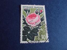 "1960-69  - Oblitéré N°  1357    ""    Fleurs, Rose    ""  ""   Creil 1963 ""  ""        Net    0.50 - Usados"