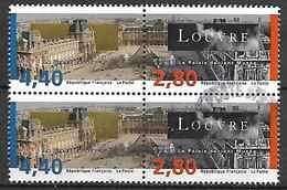 FRANCE    -    1993.  Y&T N° 2851 / 2852 Oblitérés.  Le Louvre.  2 Paires Se Tenant - Oblitérés