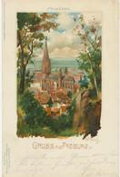 DEUTSCHES REICH Gruß-Aus FREIBURG Im Breisgau – Herrliche Farblitho (Münster – Künstler - Cartas