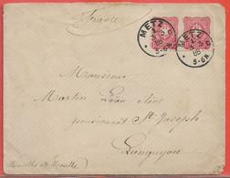 ALLEMAGNE LETTRE DE 1888 DE METZ POUR LONGUYON FRANCE - Cartas