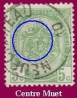 """COB N° 83  Année 1907- """"ARMOIRIES"""" De 1893 - Belle Oblitération """"NEUFCHATEAU"""" + Curiosité : Centre Du Cachet """"MUET"""" - Sonstige"""