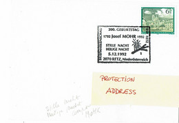 Music - Austria -  Postmark - Composer Mohr Stille Nacht...   -  1992 -   Used - Música
